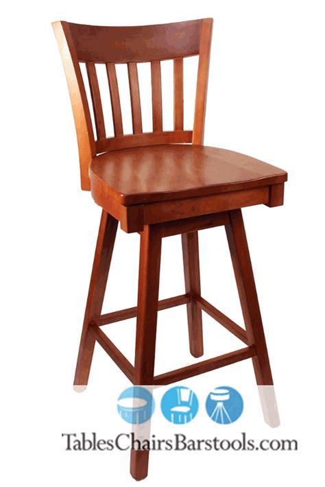gladiator cherry vertical back wooden swivel bar stool