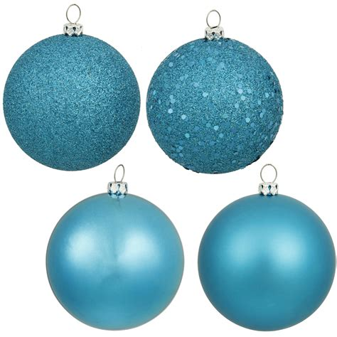 4 inch turquoise assorted ball ornaments box of 12 balls