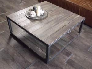 Table Basse Industrielle Carrée : table basse carr e bois industriel le bois chez vous ~ Teatrodelosmanantiales.com Idées de Décoration