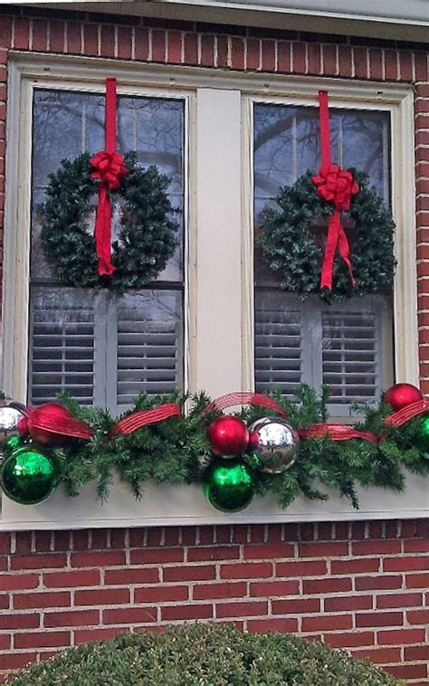 decoration twin wreaths  red bows  enchanting