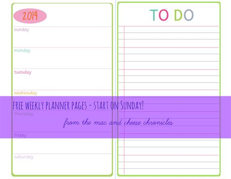 printable planner pages  mac  cheese chronicles