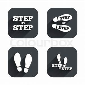 Step By Step Icons  Footprint Shoes Symbols  Instruction