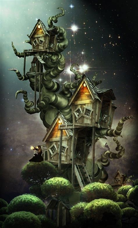 create  beautiful fantasy treehouse  photoshop