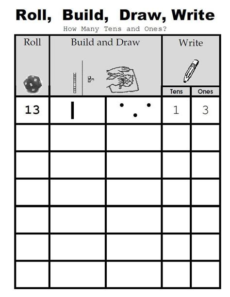 place value activity roll build draw write also has