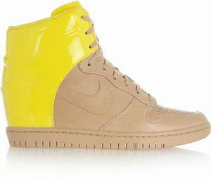 Nike Dunk Sky Hi Leather Wedge Sneakers in Beige Bright