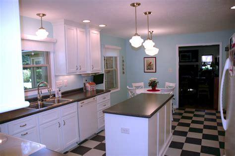 gray black white checkered kitchen floor