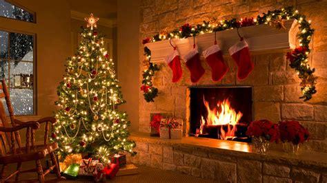 fireplace tree snowfall