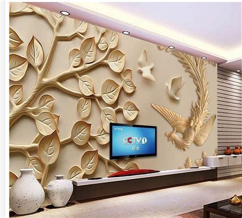 customized wallpaper  walls leaf phoenix peony wood