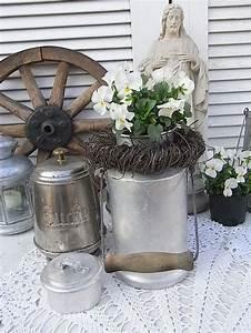 Deko Hauseingang Frühling : vintage kr ge alte milchkanne vorratsdose vase shabby chic ein designerst ck von ~ Orissabook.com Haus und Dekorationen