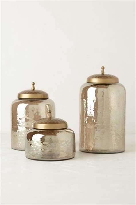 Blue Mercury Glass Bath Accessories by Mercury Moss Canister Contemporary Bathroom Canisters