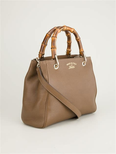 gucci bamboo tote bag  brown lyst