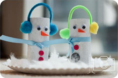 winter kids craft paper roll snowmen