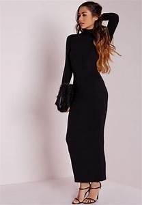 roll neck long sleeve bodycon maxi black missguided With robe noire moulante manche longue