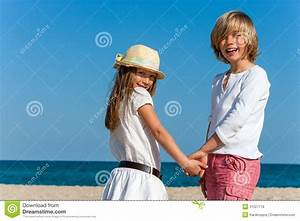 Cute Boy And Girl Holding Hands. Royalty Free Stock Photos ...