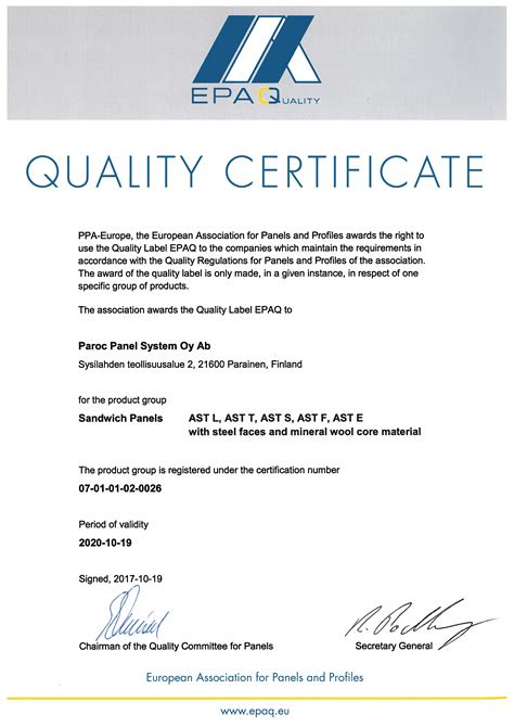 European Quality Assurance Association For Panels And Profiles by Certification Of Panels