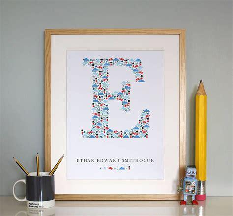 personalised boys monogram print boy monogram baby boy monogram alphabet print