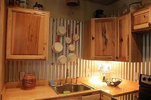corrugated tin back splash love the pot holder too With what kind of paint to use on kitchen cabinets for red metal art wall decor