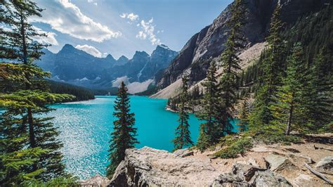 Moraine Lake On A Sunny Day Wallpaper  Nature Wallpapers