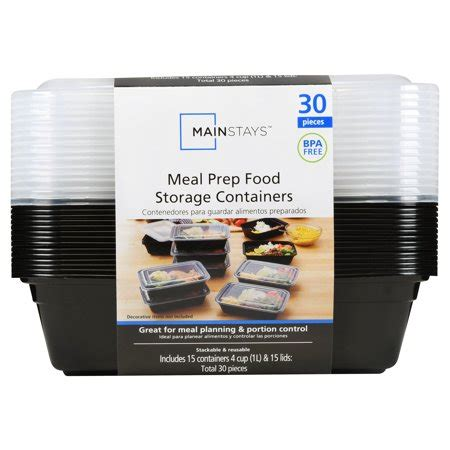 kitchen storage containers walmart mainstays meal prep food storage containers 30 count 6165