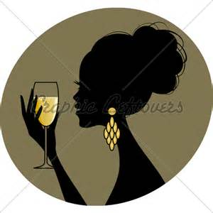 Silhouette Woman with Champagne