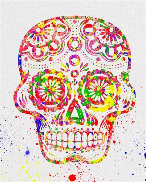 day   dead sugar skull watercolor art watercolor