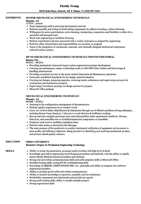 mechanical engineering technician resume sles velvet
