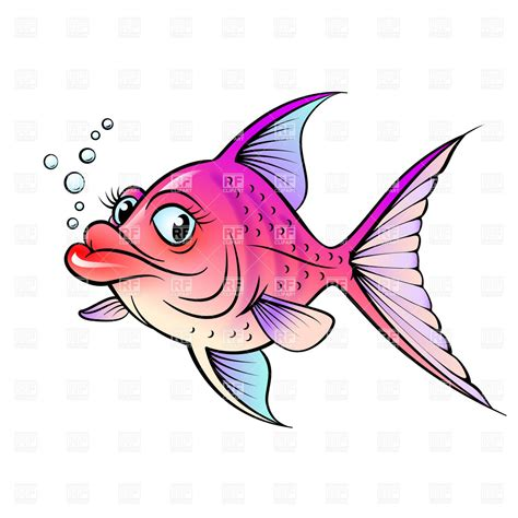 cartoon fish  big lips vector image  plants