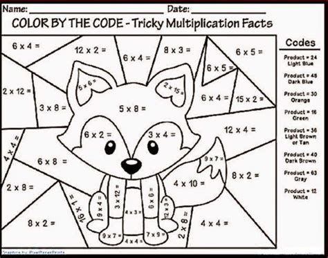 color  number multiplication math coloring worksheets