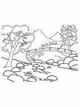 Coloring Pages Mountains Mountain Nature Printable Results sketch template
