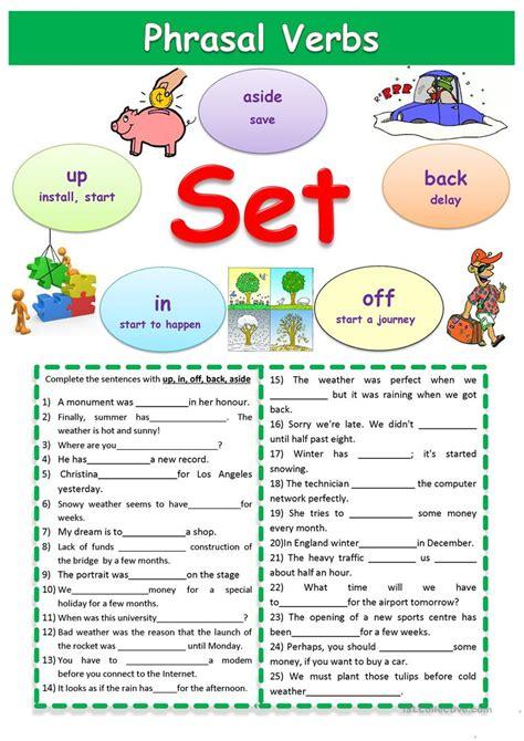 """Phrasal Verbs """"set"""" Worksheet  Free Esl Printable Worksheets Made By Teachers"""