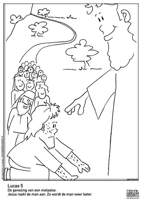 Kleurplaat Mattheus 13 by Lucas 5 De Genezing De Melaatse Godsdienst