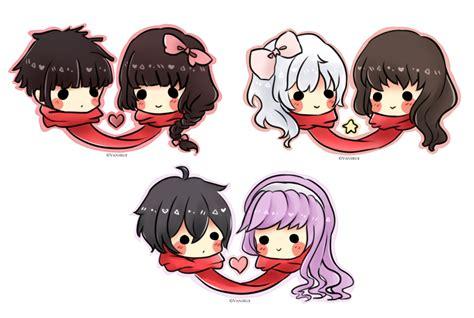 anime couple cute chibi couple scarf chibi batch 1 by vanirue on deviantart