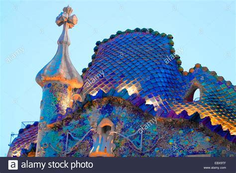 Casa Batllo, Antoni Gaudi, illuminated roof, Spain