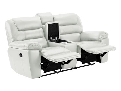 Sofa Centre 8 Small Sofa With Manual Recliners White Faux Leather