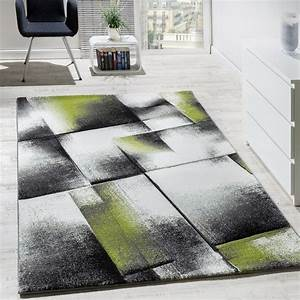 Teppich Grün Weiß : designer teppich wohnzimmer teppiche kurzflor meliert gr n grau creme schwarz wohn und ~ Indierocktalk.com Haus und Dekorationen