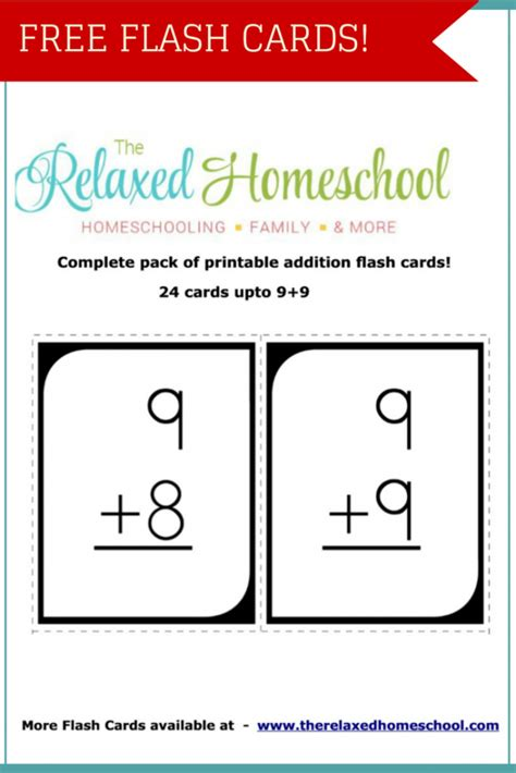 Free 24 Math Addition Flash Cards  Free Homeschool Deals