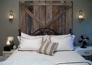 33 dreamy reclaimed wood headboards With barn door style headboard