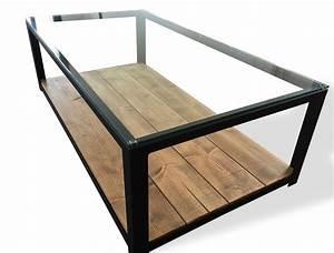 Table Verre Bois : table basse en acier bois et verre indus pinterest acier bois table basse et acier ~ Teatrodelosmanantiales.com Idées de Décoration