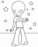 Alien Coloring Pages Hippie Print Printable Cute Aliens Cool Story Hippies Toy Cartoon Template Wait Templates Bestcoloringpagesforkids Popular sketch template