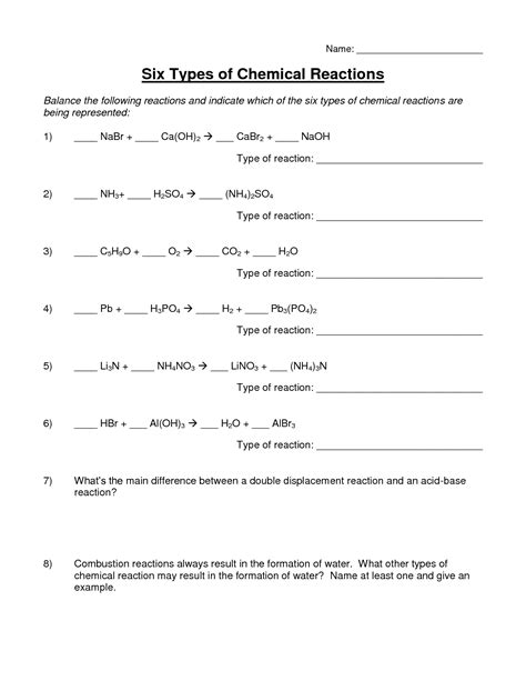 worksheet on types of reactions printable worksheets and