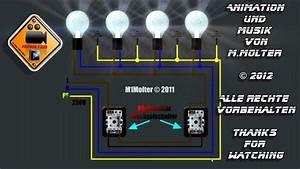 Wie Funktioniert Ein Bewegungsmelder : zwei lichtschalter und vier lampen anschlie en am schaubild erkl rt von m1molter youtube ~ Frokenaadalensverden.com Haus und Dekorationen