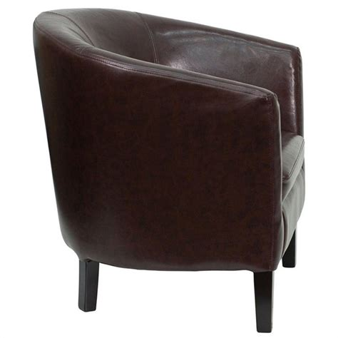 brown leather barrel shaped guest chair go s 11 bn barrel gg
