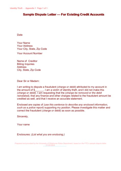 sample dispute letter template  existing credit