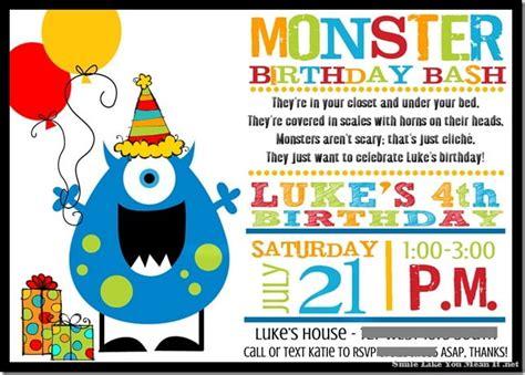 monster birthday invitations ideas bagvania