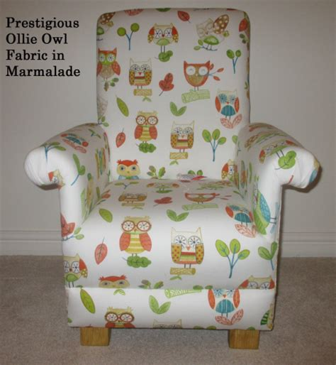 prestigious ollie owl fabric child s chair in marmalade