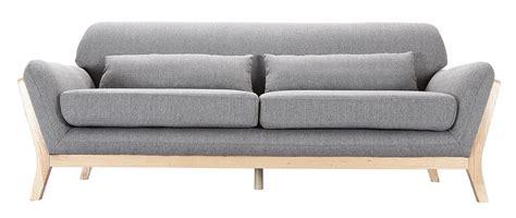 bout de canapé en bois canapé scandinave 3 places gris pieds bois yoko miliboo