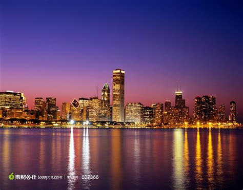 Chicago Skyline Wallpaper Hd 璀璨海边城市夜景及其倒影高清图片 素材公社 Tooopen Com