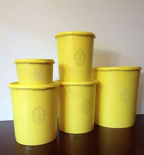 yellow canister sets kitchen vintage yellow tupperware canister set 5 with lids