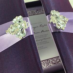 blush pink wedding folder with crown pearl brooch With high end wedding invitations nyc