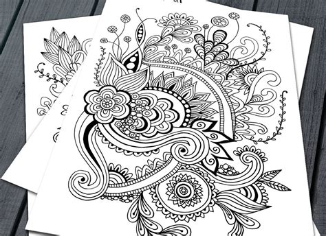 Doodle Adult Colouring Pages, Printable Colouring Pages